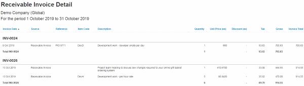 Receivable Invoice Detail Report (in Xero)